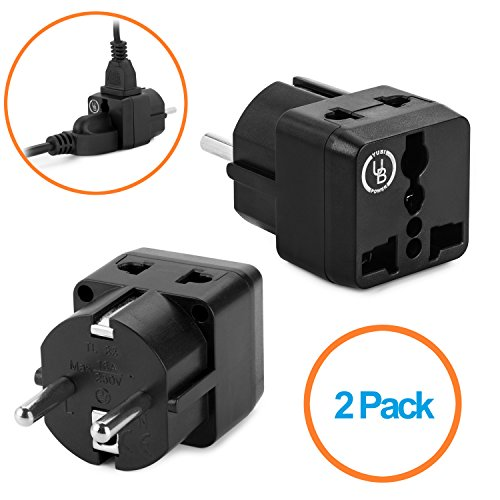 Yubi Power 2 in 1 Universal Travel Adapter with 2 Universal Outlets - Black - 2 Pack - Type E/F for France, Germany, Poland, Spain, Sweden, Switzerland, Turkey, Ukraine and more!