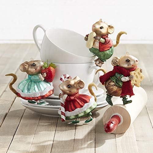 Set of 4 Primitive Felt Mice Ornaments