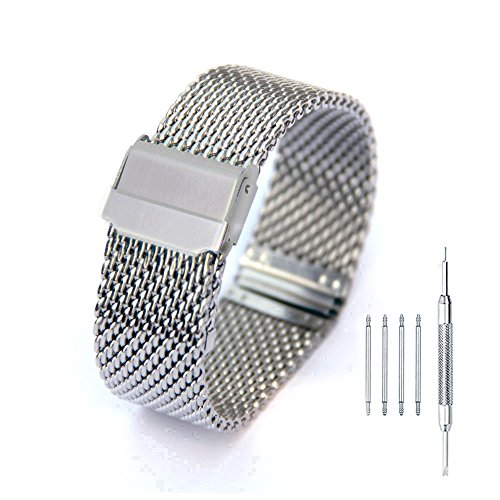 24mm Polished Silver Stainless Steel Milanese Loop Watch Band Metal Strap with Double Fold-over Clasp Bracelet - Double Loop Clasp