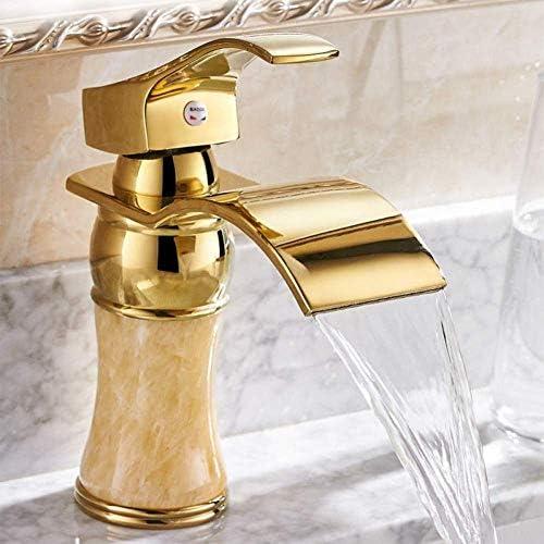 CLJ-LJ 蛇口キッチンタップブラス浴室ゴールデンマーブル蛇口ミキサーゴールドメッキ洗面所の滝流域のコールドホットウォータータップ