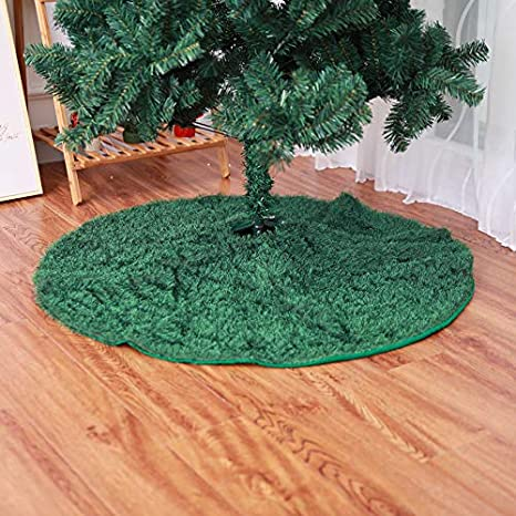 Qinlee Weihnachten Baumrock Gr/ünes Gras Christbaumdecke Weihnachtsbaum Rock Baumdecke Weihnachtsmatte Deko f/ür Festival Party Gr/ün