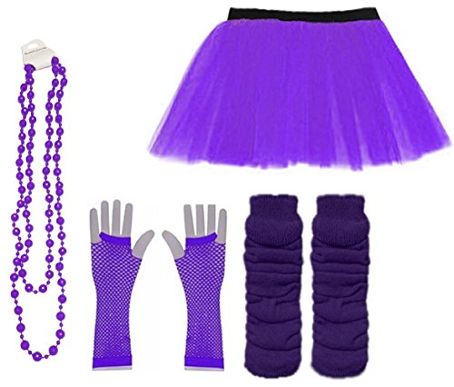 Ladies Neon UV Tutu Set Skirt Gloves Leg Warmers Bracelet Beads 80s Costume Size 6-22 (Purple, UK 16-22 (EUR 44-48)) -