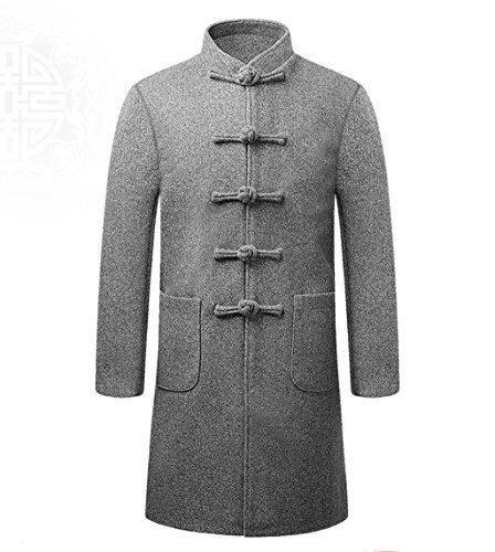 Wool High-end Tang Suit Medium Long Coats National Costume Characteristic Dress Retro Jackets Coats Men's Dress Full Dress by BAOLUO-Tang Suit