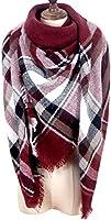 MissShorthair Winter Plaid Blanket Scarfs for Women Large Square Tartan Shawl Wrap