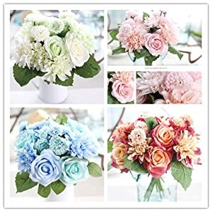 Hivot Artificial Silk Fake Flower,Wedding Bridal Bouquet Leaf Rose Floral Bridal Party Home Decor Craft Multicolor 40