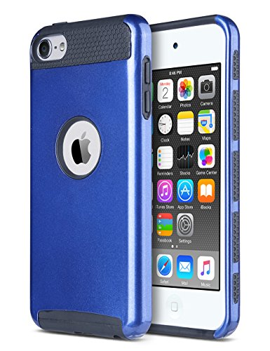 (ULAK iPod Touch 7 Case,Pod Touch 5/6th Generation Case, Dual Layer Slim Protective Hybrid iPod Touch Case Hard PC Cover for Apple iPod Touch 5/6/7th Gen and iPod Touch (2019), Navy Blue/Black)
