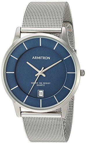 (Armitron Men's Date Function Dial Silver-Tone Mesh Bracelet Watch)