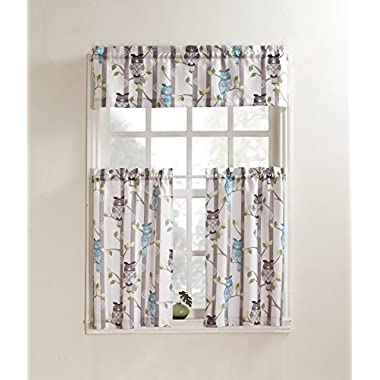 No. 918 Hoot Kitchen Curtain Tiers, 56 by 24 inch, Mocha