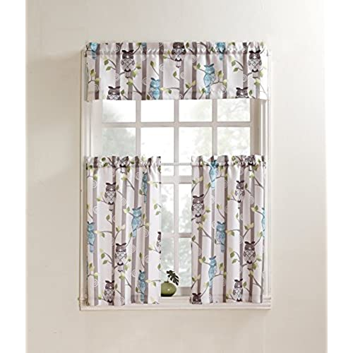 918 Hoot Owl Print Kitchen Curtain Valance, 56