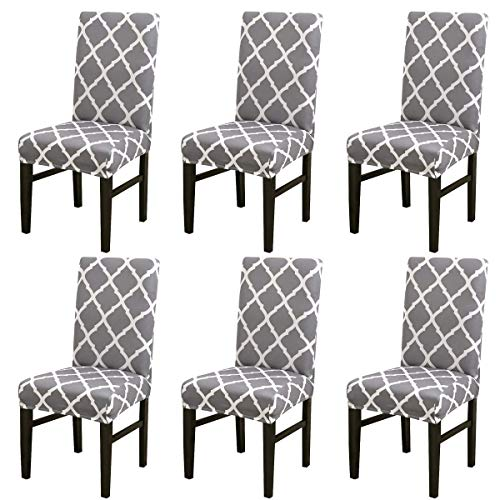 NURB Stretch Dining Chair cover 6pcs Spandex Dining Chair Covers Removable Washable Universal Protector Cover Seat…