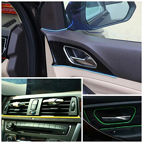 Car Interior Moulding Trim,Maso Universal Decoration Pinstriping Tape 5M Yellow ABS 3D Strip with Tool