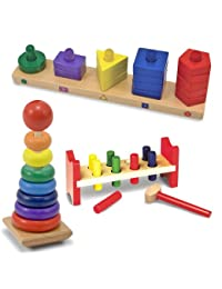Melissa & Doug Deluxe Wooden Pound-A-Peg with Stack and Sort Board and Rainbow Stacker BOBEBE Online Baby Store From New York to Miami and Los Angeles