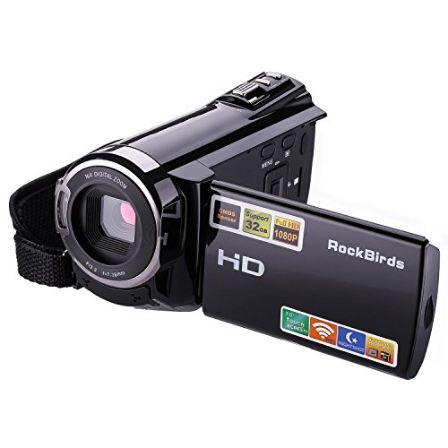 Camcorders, RockBirds HDV-5052STR Digital Video Camera HDMI 1920x1080p Portable FHD WIFI Camera, Night Vision 30FTPS Video Camcorder with Touchscreen, 16X Digital Zoom(Black) by RockBirds