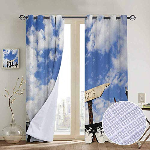 - NUOMANAN Curtains Wizard,School of Witchcraft Castle and Wizard Signboard Snowy Rooftops Sky and Clouds,Blue White,Treatments Thermal Insulated Light Blocking Drapes Back for Bedroom 84