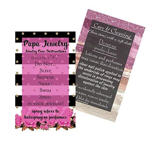 "Jewelry Cleaning and Care Instruction Cards | Pack of 50 | MLM | Business Cards 3.5 x 2"" from Paparazzi Jewelry"