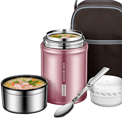 (IAMGlobal Insulated Food Jar, Food Thermos, Meal Soup Container with Collapsible Spoon, Lunch Box, Double Wall Vacuum Lunch Containers, Stainless Steel Food Flask(27 oz) (Pink))