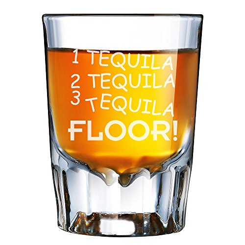 1 Tequila 2 Tequila 3 Tequila Floor Engraved Barcraft Fluted Shot Glass