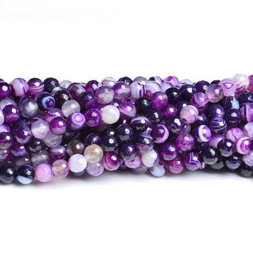 Strand 60+ Purple Banded Agate 6mm Faceted Round Beads CB36954-1 (Charming Beads)