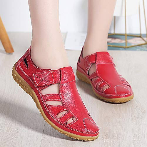 Sports Sandals Z Flat Hollow Women's Sandals SUO Red Comfortable Leather xwqaq0SpY