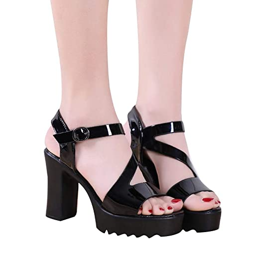 3b041437f8480 Amazon.com: AHAYAKU Thick with The Fish Mouth Shoes Women's Peep Toe ...