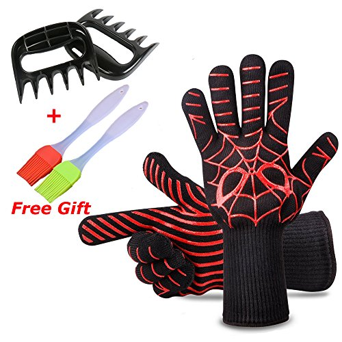 Fish&Fairy BBQ Grill Cooking Gloves Oven Mitts Barbecue Gloves for Men Women 932°F Heat Resistant Non slip Silicone Coated for Cooking Baking Handling of Pots Pans with Meat Claws Silicone Brush