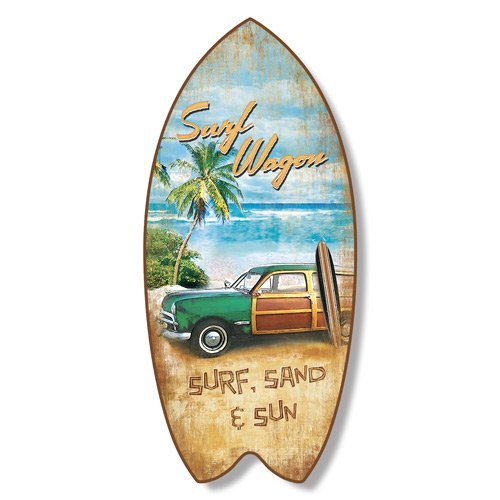 Surfboard Plaque Surf Wagon Beach Coastal Wall - Surf Wall Sign
