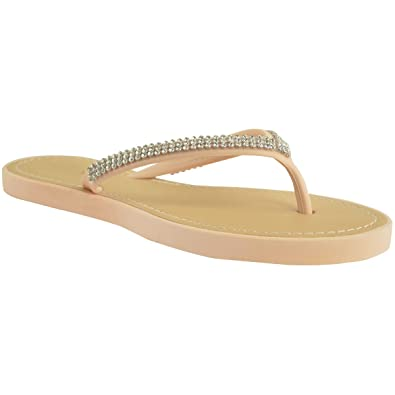 8344f2ef9bb9 WOMENS LADIES DIAMANTE JELLY SANDALS SUMMER BEACH FLIP FLOPS TOE POST SHOES  SIZE 3 UK Nude