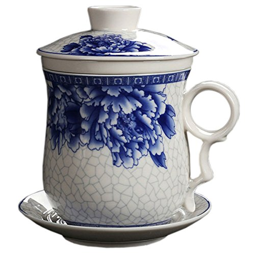 BandTie Convenient Travel Office Loose Leaf Tea Brewing System-Chinese Jingdezhen Blue and White Porcelain Tea Cup Infuser 4-Piece Set with Tea Cup Lid and Saucer (Peony Pattern) (Saucer Peony Tea)
