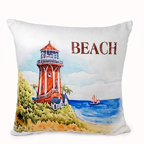 BANBERRY DESIGNS Beach Lighthouse Throw Pillow Cover Decorative