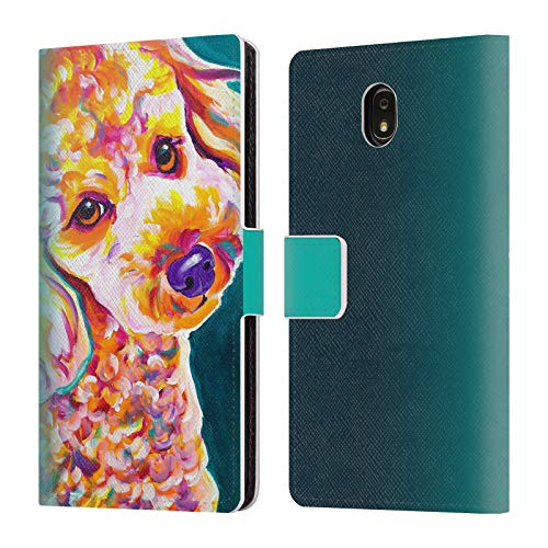 Official DawgArt Poodle Curly Dogs 2 Leather Book Wallet Case Cover Compatible for Samsung Galaxy J7 (2018) ()