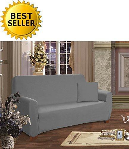 ction Luxury Soft Furniture Jersey Stretch SLIPCOVER, Loveseat Gray ()