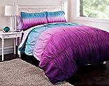 tie dye sheet full - 7pc Girl Purple Tie Dye Full Comforter Set (7pc Bed in a Bag)