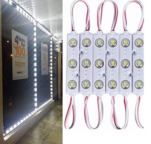 9.8 FT 5730 3 Led Module Light White Waterproof with Self-Adhesive Tape for Sign Lettering Storefront Window Exterior Light,Only LED Lights,12V Power Supply Not Included -