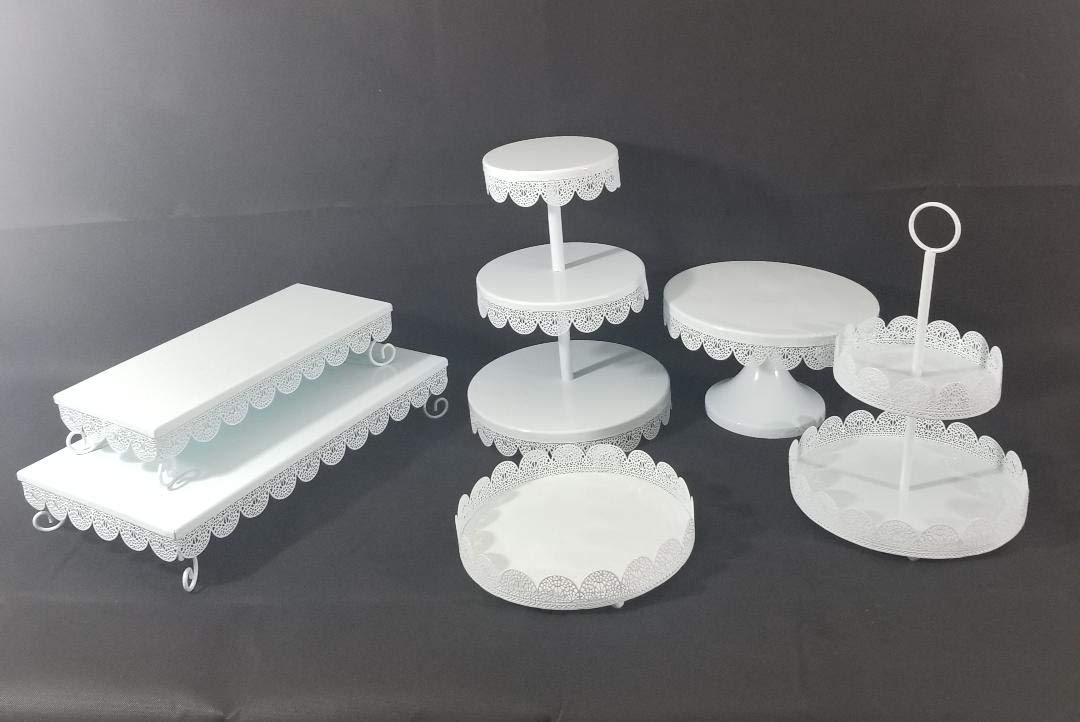 Unique 6pcs White Metal Cake and Treat Stand - Lace Design Perfect for all Party decorations
