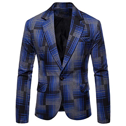 TOOPOOT 2019 Men's Jacket Slim Fit One Button Sport Coat Notch Lapel Casual Business Stripe Single Breasted Outwear -