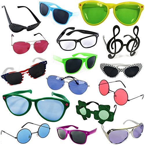 Costume Sunglasses - Party Sunglasses - 6 Pack Funny Shades by Funny Party - Glasses And Hats