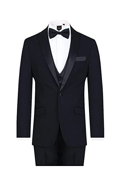 Dobell Mens White 2 Piece Tuxedo Slim Fit Peak Lapel Evening Dinner Suit Black Trousers