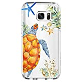 Shark Summer Aloha Ocean Collection Sea Shell sea Turtle Clear Back case for Samsung s7