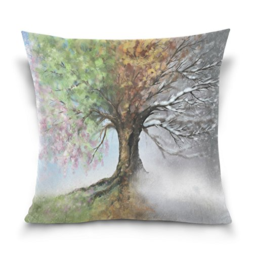 ALAZA Throw Pillow Case Decorative Cushion Cover Square Pillowcase, Four Season Tree Landscape Nature Sofa Bed Pillow Case Cover(16x16inch) Twin Sides