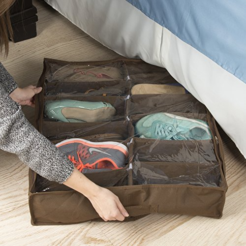 Everyday Home Under Bed Storage Shoe Organizer Bag with Clear Plastic Zippered Cover, Stores 12 Pairs of Shoes (Brown)