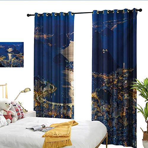 (WinfreyDecor Night Customized Curtains Aerial View of Mountain Sugar Loaf and Botafogo Rio de Janeiro Darkening and Thermal Insulating W96 x L108)
