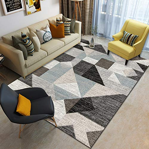 JIFAN Nordic Geometric Household Carpet Modern Creative Household Rug Girl Room Blanket Child Activity Baby Climbing Mat for Bedroom Living Room Sofa Coffee Table Study Balcony Bay Window