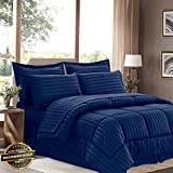 King Vs California King Size Gatton New Premium 8 Piece Bed in A Bag Hotel Dobby Embossed Comforter Sheet Bed Skirt Sham Set | LINENIENHM-182012585 King