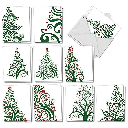 Just Fir You - 20 Artistic Christmas Thank You Cards with Envelopes (4 x 5.12 Inch) - Artistic Christmas Trees - Assortment of Boxed Holiday and Xmas Thank Yous (2 Each, 10 Designs) AM6019XTG-B2x10