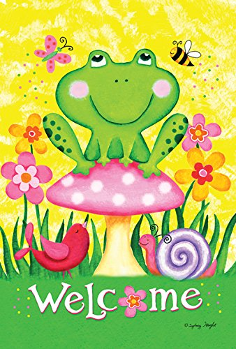 Toland Home Garden Welcome Froggie and Friends 28 x 40 Inch Decorative Colorful Spring Frog Flower Bird House Flag ()