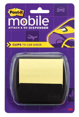 Post-it Super Sticky Pop-up Notes Dispenser for 3 x 3-Inch Notes, Designed for Car Visor, Includes Canary Yellow Notes