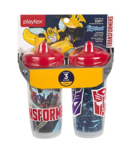 Playtex Sipsters Stage 3 Transformers Insulated Spout Sippy Cup, 9 Ounce, 2 Count (9 Ounce Cups Transformers)