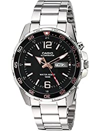 Men's Super Illuminator Quartz Watch with Stainless-Steel Strap, Silver, 21 (Model: MTD-1079D-1A3VCF)