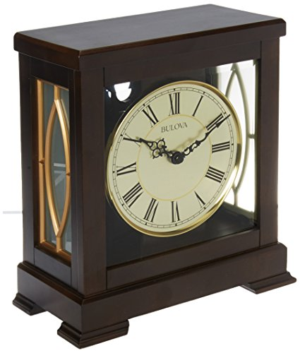 Bulova B1653 Victory Mantel Chime Clock, Brown by Bulova