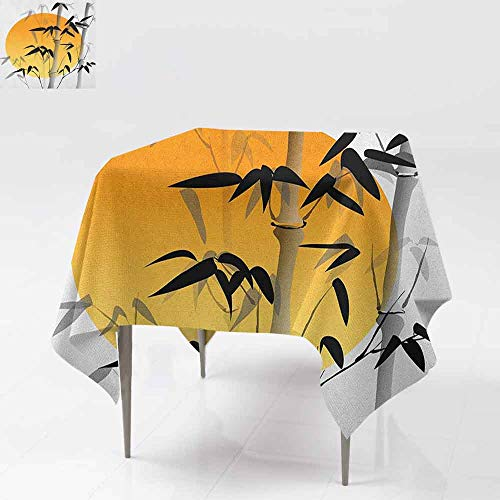 AndyTours Fashions Table Cloth,Bamboo,Bamboos Across The Sun Aesthetic Japanese Culture Lifestyle Mystic Artwork,Table Cover for Dining,54x54 Inch Orange Black White -
